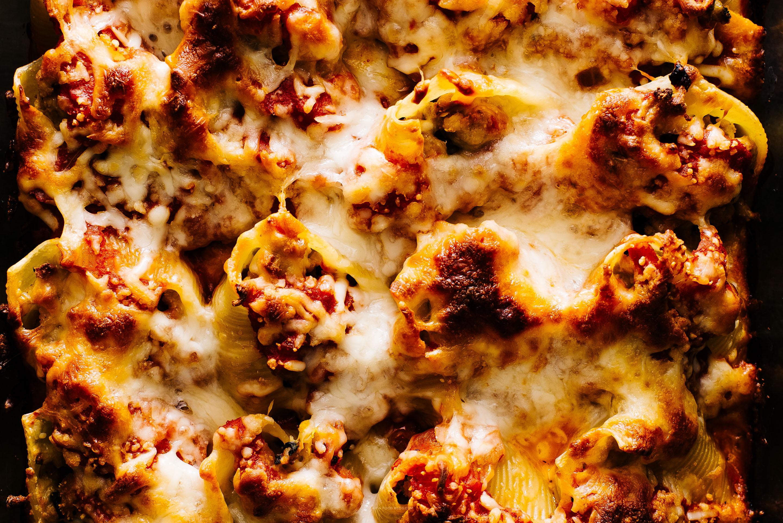 Receta de conchas rellenas de calabaza y queso de cerdo - www.iamafoodblog.com