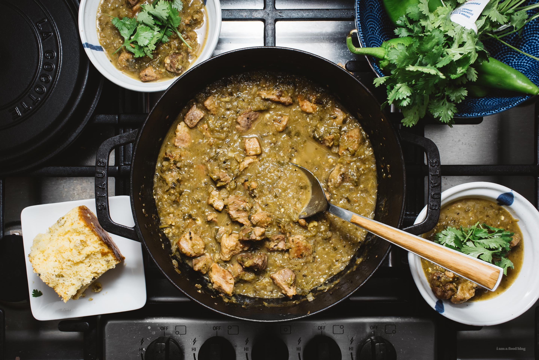 Slow Chef Delay Green Chili Hatch Receta Verde Chileno  www.iamafoodblog.com